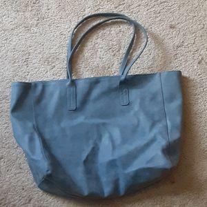 Blue suede Saks Tote Bag